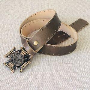 CACHE | Boho Metallic Leather Belt Jewel Buckle L